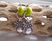 Silver Owl Earrings on Sterling Silver Earwires