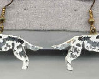 Wooden ENGLISH SETTER Handpainted Dog Breed Earrings