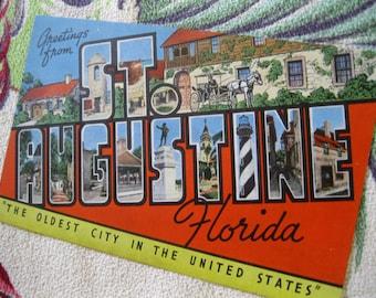 Vintage St Augustine Florida postcard - 1940s large letter linen postcard - Florida souvenir
