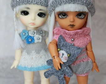 SALE - Lati Yellow-Pukifee - Winter PomPom HAT - Silver Grey Stripes or Hearts - Pick your Fav