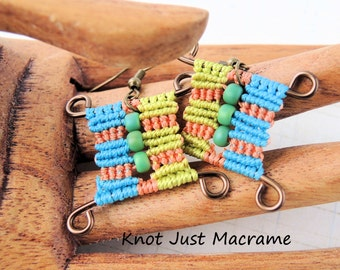 Orange, Aqua and Chartreuse Green Cubist Micro Macrame Earrings Macrame Sunny Bright