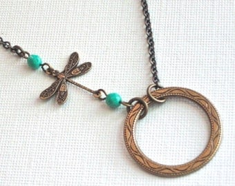 Brass Circle Dragonfly Necklace - Turquoise Necklace, Dragonfly Jewelry, Nature Jewelry, Bridesmaid Necklace