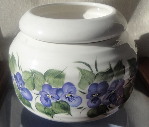 African Violet planting pot, with purple pansy's, hand painted
