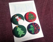"Set of four 1"" fabric pinback buttons"
