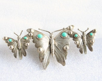 1950s Sterling Turquoise Butterfly Brooch Earrings Set Vintage Silver Butterfly Figural Pin