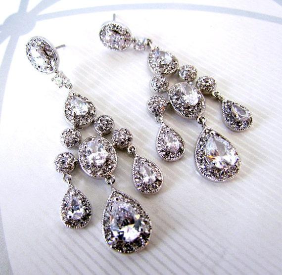 Bridal Chandelier Earrings CZ Rhinestone  - GIA