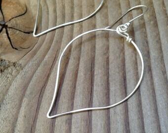 Silver Hoop Dangle Earrings, Large Sloping Silver Hoop Earrings, Free Shipping