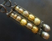 Many Moons. Rustic victorian tribal antique baroque pearl cage earrings.