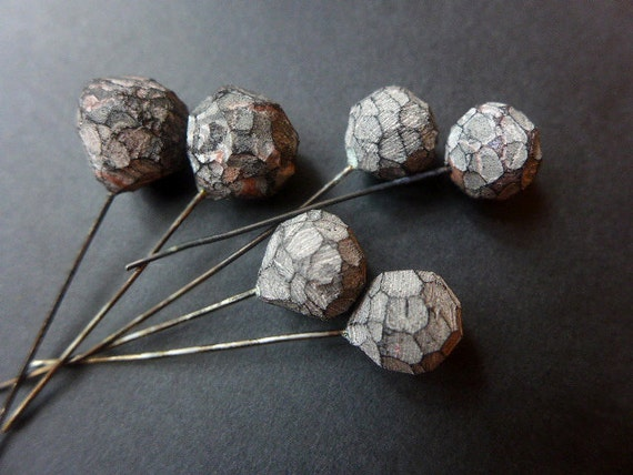 Stone Path. 6 polymer clay head pins with striated, faceted texture. 9-11mm.