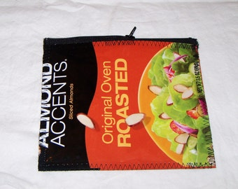 Eco Friendly Change Purse Wallet Snack bag made with Recycled Almond Bags upcycled repurposed