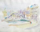 Canal Saint-Martin, Paris - Vintage Original Watercolor by Andre Joseph Grill - pennysartloft