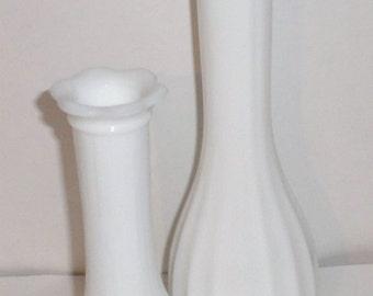 Vintage White Glass Bud Vases  - Set of 2 Vases - Flower Vase - Windowsill Vase - White Vase