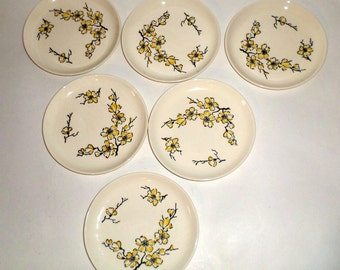 Vintage Stetson Dogwood Plates - Hand Decorated - Bread Plates - Yellow Flowers - Set of 6 Bread Plates - Dessert Plates - Small Plates