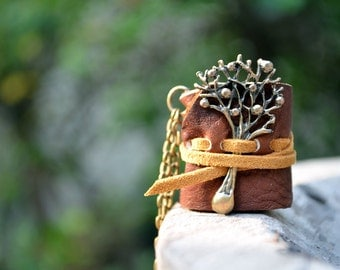 MiniatureBook Necklace Big Tree & Rustic Brown color leather