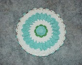 Vintage--Hand Crocheted--TRIVET--Turquoise--Green--White--Round Shape With Rose Center--Treasury