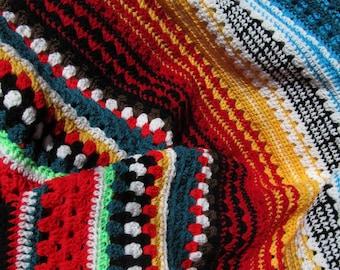 Blanket: hand crochet blanket pattern, afghan, multicolor, Serape Style stripe