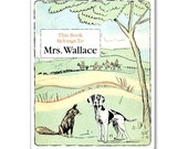 Fox and Hound Vintage Personalized Bookplates - BABY SHOWER GIFT