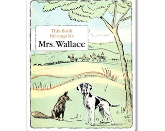 Vintage Personalized Bookplates - Fox and Hound Custom Book Labels - Baby Shower Gift, Children's Books