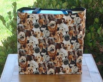 Dog Breed Variety Print Reusable Shopping Tote Bag