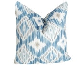 Blue White IKAT Pillows,  Beach House Pillow Cover, Cushion Covers, Blue White Grey Taupe, Modern, Summer Home Decor