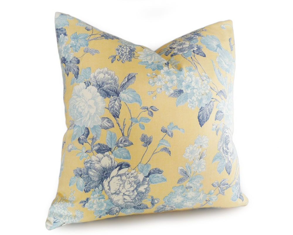 Yellow and Blue Throw PillowsYellow Floral Pillows Shabby