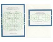 Traditional Geometric Wedding Invitations Glacier Fret  - mint green, royal blue, wedding invites, modern, laser cut, mod, deco, urban,
