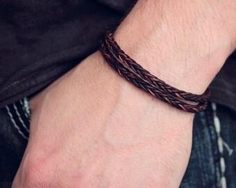 Braided Leather Unisex Wrap Bracelet, Sterling Silver Men's Leather Bracelet Chocolate Brown Eco Friendly Two Tone Bohemian Beach Man