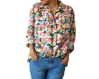 ROSE French Vintage Rose Prints Oversize Silk Blouse/Shirt