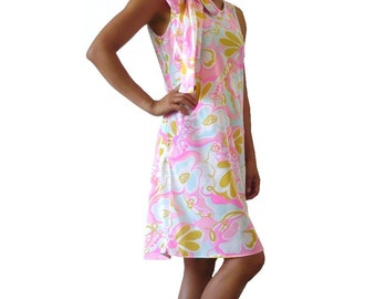 French Vintage 60s Floral Semi Sheer Dress with Sash