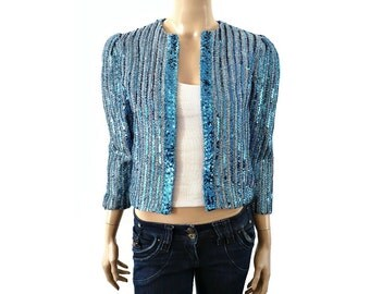 FURNKRANZ French Vintage Blue Sequins Bolero