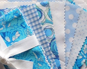 Blue Patchwork Fabric Bundle, Turquoise Patchwork Pack, Charm Pack, 30 x 5 inch squares of blue cotton fabric for patchwork and quilting