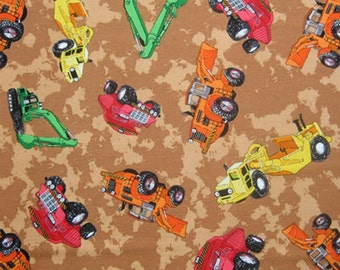 Kid's Brown Construction Truck Cotton Fabric by Timeless Treasures, Boy's Dump Trucks Pure Cotton Fabric
