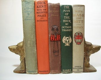 Vintage 1900s Antique Decorative Book Lot Library Red Orange Green Brown