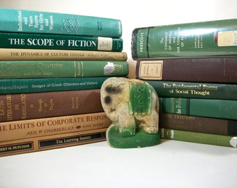 Vintage 1960s -1970s Green and Brown Decorative Book Lot Library Instant Collection G1