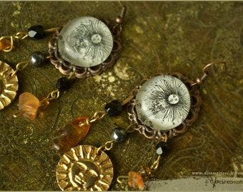 Sun of alchemy earrings with amber and hematite - illustrated jewelry