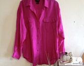 Vintage 80s Bubble Gum Pink Silk Shirt