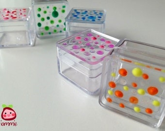 Gift box, boxes, favor, party, plastic box, mini box, trinket, colorful, supplies, small, little, poka dot, tiny box, wedding, Set of FIVE