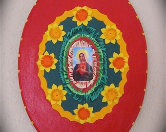 Virgin Mary 3-D  SACRED HEART Flower Shrine -  A colorful wonder of Mexican Folkart