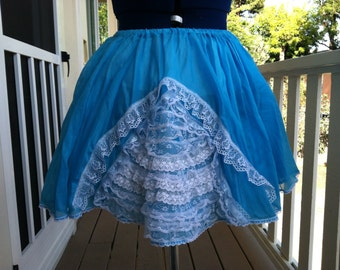 Vintage inspired Blue sweet lolita Extra Ruffles and Lace Full circle slip skirt