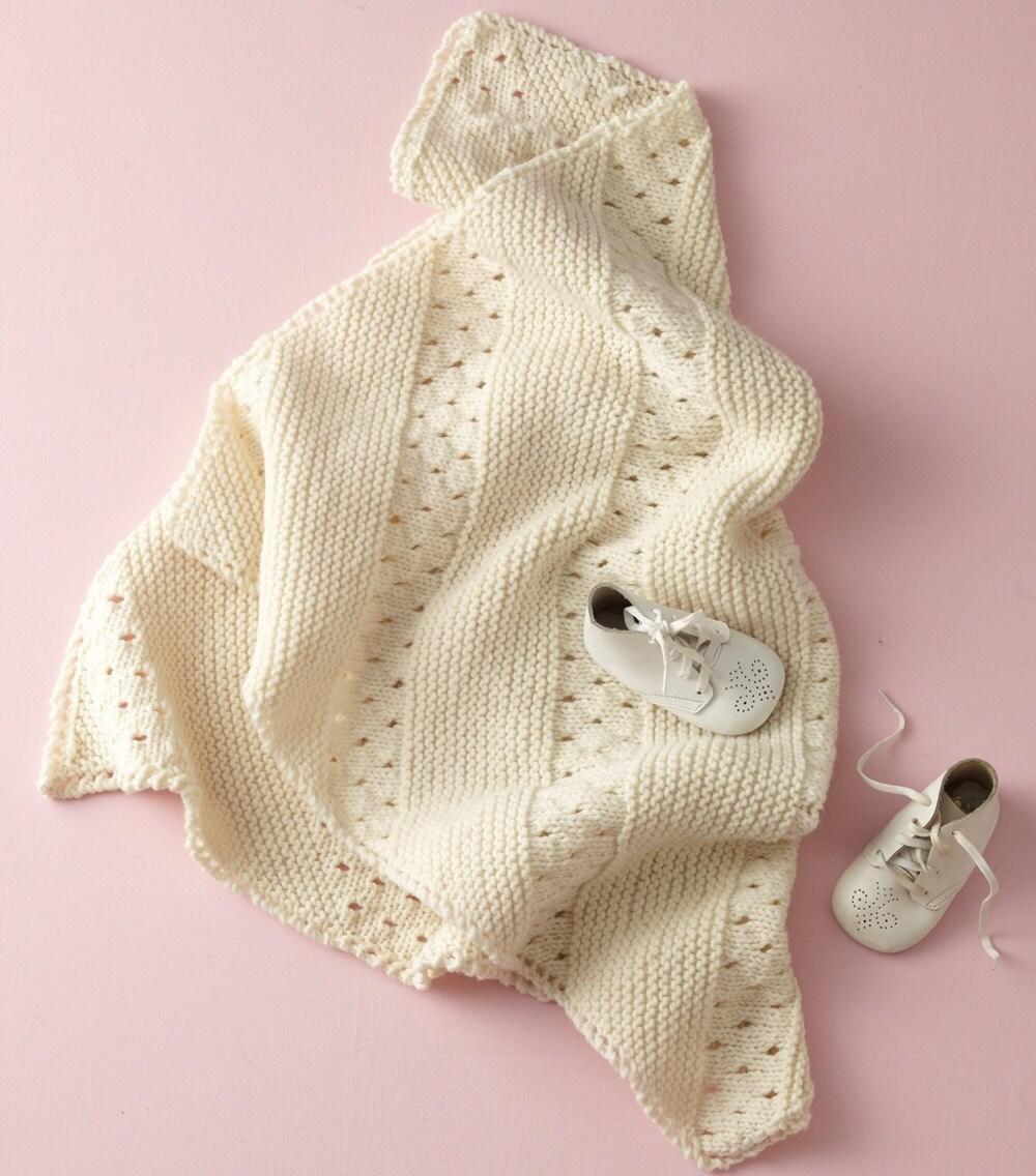 Diagonal Eyelet Baby Blanket White Knit Afghan