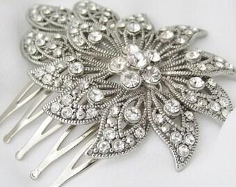 Silver Rhinestone Wedding Hair Comb, Art Deco Hair Comb, Bridal Accessories, Brides Hair Comb, Head Piece