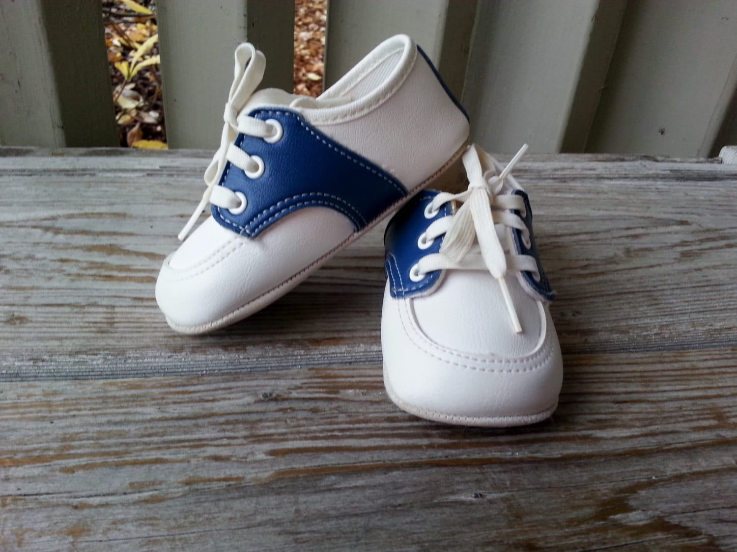 infant blue and white saddle oxfords size by