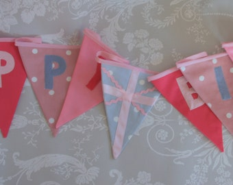 Happy Birthday British Flag Banner Bunting Pink and Grey Custom made to order ideal for a Birthday Party or Celebration or Photo prop