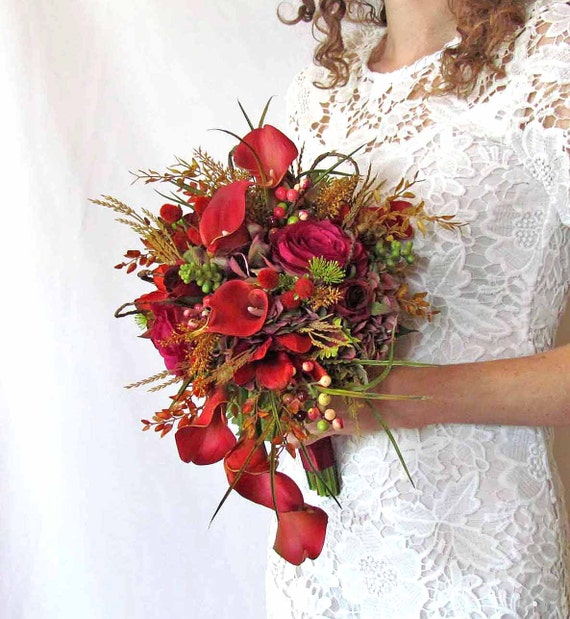 Fall calla lily cascading wedding bouquet sale priced ready for Fall wedding bouquets for sale