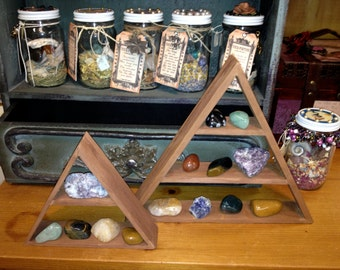 Crystal and Gemstone Display Shelf in Natural Wood Triangle Shape