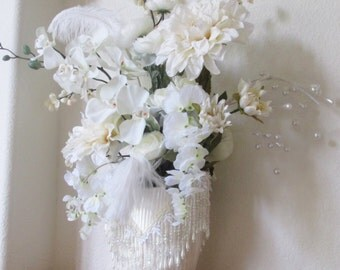 Ivory Wedding Floral Arrangements with Victorian Pearl Beaded Accents - Buy 1 or 2