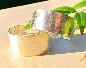Handmade, Hammered Sterling Silver, Wide Hoop, Quarter Size