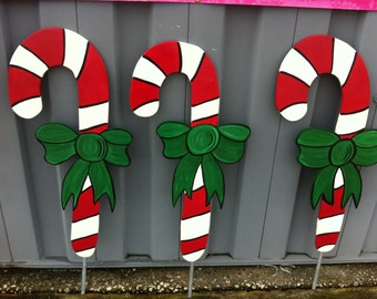 Christmas candy canes holiday wooden yard art for Holiday yard decorations patterns