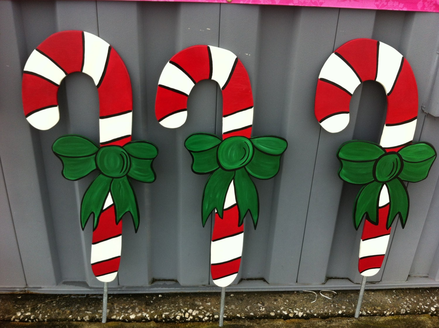 Christmas candy cane 1 pc holiday wooden yard art Wooden outdoor christmas decorations