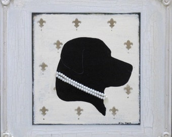 Black Lab silhouette painting with faux pearls - shabby chic labrador decor